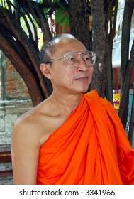 A Buddhist monk in Bangkok, Thailand.