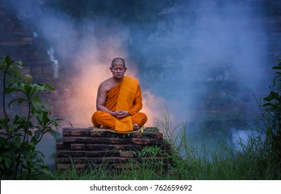 Buddhist Monk Meditation. Wat Choeng Tha is an ancient temple built in the Ayutthaya period.