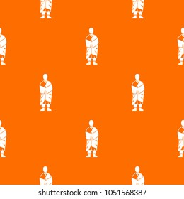 Buddhist monk pattern repeat seamless in orange color for any design. geometric illustration