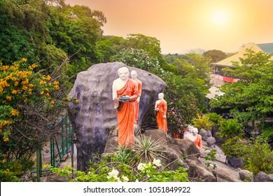 Buddhist Monk statues in Dambulla Cave Temple , Dambulla,  Sri Lanka.