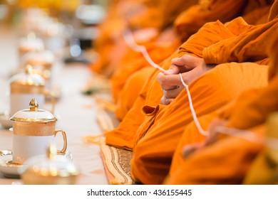 buddhist monk in Thai wedding ceremony