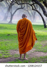 Buddhist Monk Walking for Receive Food in the morning , Thailand. Buddhist Monk Thailand, Monk.