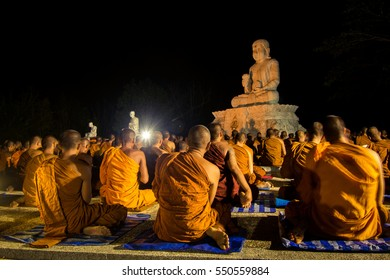 Buddhist monks are chanting Buddha in temple Thailand / January 7, 2017.