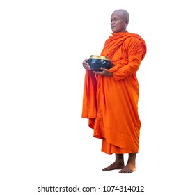 Buddhist monks holding rice bowls on white background with clipping part