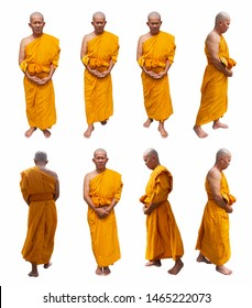 Buddhist monks are standing isolated.
