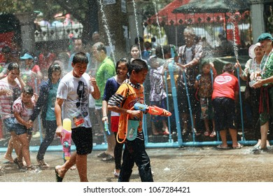 "Buddhist new year festival ""Songkran"" celebrations in Thailand, Phra Pradaeng, Bangkok, 2012."