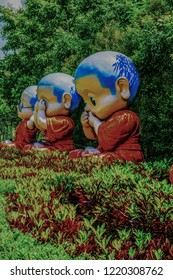 Buddhist novice dolls for Dharma puzzle, Thailand.
