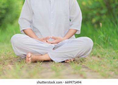 Buddhist Nuns meditation in thailand