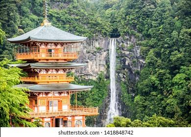 Buddhist pagoda near nachi waterfall in wakayama prefecture