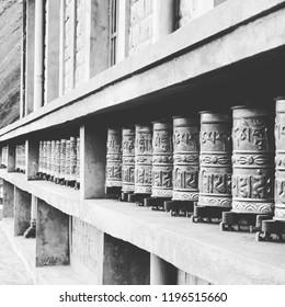 Buddhist Pray Wheels at Kagbeni, Mustang