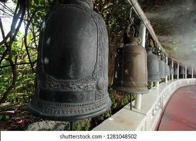 Buddhist prayer bells, Wat Saket, Golden Mount, temple complex, Bangkok, Thailand