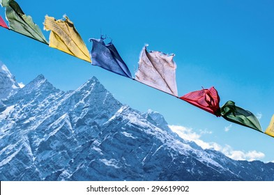 Buddhist prayer flags in the Himalaya mountains, in Nepal