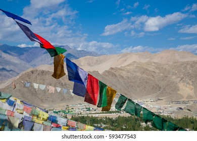 Buddhist prayer flags in the Himalaya mountains