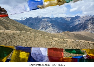 Buddhist prayer flags the holy traditional flag with blue sky on mountain background in Ladakh,India