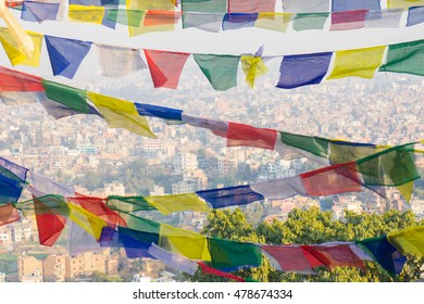 Buddhist prayer flags with mantras. The holy traditional flag