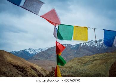 buddhist prayer flags on himalayas background