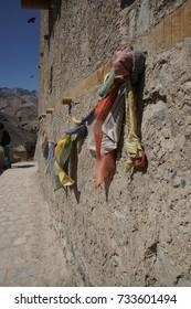 Buddhist prayer flags on an outside wall of theLamayuru gompa monasteryLadakh, India