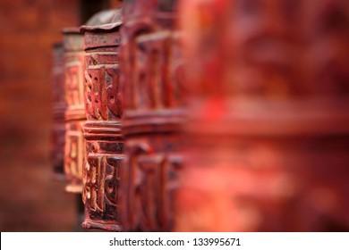 Buddhist prayer red drum in the Kathmandu Valley