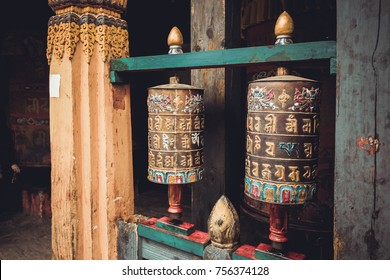 Buddhist prayer wheels in Trongsa Dzong, Bumthang, Bhutan, South Asia