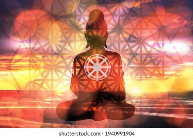 Buddhist religion. Buddha worship concept. Worship of the god of buddhism. Silhouette of Buddhism on a sky background. Dharmachakra as a symbol of Buddhist religion. Worship buddha dhamma in india