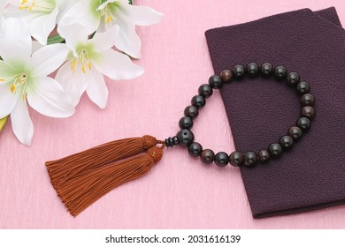 Buddhist rosary called Juzu. Buddhist tool used for praying at funeral