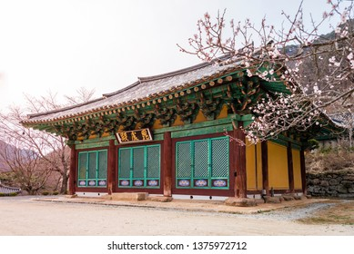 Buddhist sanctuary in Gagyeonsa temple, Goesan, South Korea. This building was built in the Silla period(514-539). The writing on the front of the building is 'Birojeon Hall'.