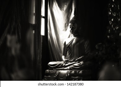 Buddhist Statue in Black and White