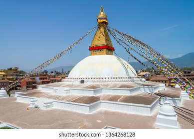 The Buddhist stupa of Boudha Stupa dominates the skyline. It is one of the largest unique structures stupas in the world Located in kathmandu, Nepal.