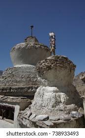 Buddhist stupa and chorten at Lamayuru gompa monastery, Ladakh, India