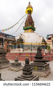 Buddhist stupa in Thamel district of Kathmandu. Buddhism religion in Nepal