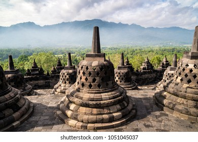 Buddhist stupas in Borobudur temple, Magelang, Central Java, Indonesia