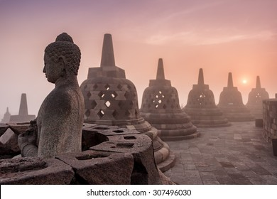 Buddhist Temple Borobudur Taken at Sunrise. Yogyakarta, Indonesia