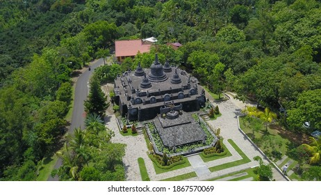 buddhist temple Brahma Vihara Arama with statues gods. aerial view balinese temple, old hindu architecture, Bali architecture, ancient design. Travel concept. indonesia