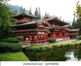 Buddhist temple. Byodo-in temple in Oahu, Japan. Japanese Buddhist architecture.
