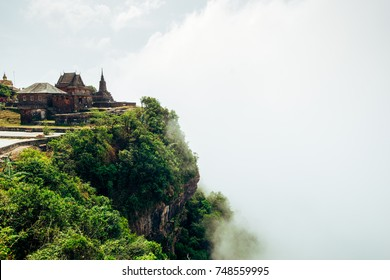 Buddhist temple in Cambodia in the mountains, in the national reserve Bokor