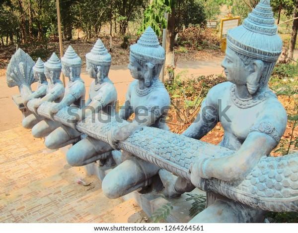 Buddhist temple hand rails in Cambodia