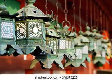 Buddhist temple lanterns at Kasuga-Taisha Shrine in Nara, Japan.
