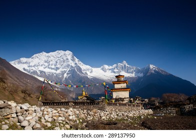 Buddhist temple in Nepal mountains