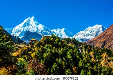 Buddhist temple at the Nepal mountains