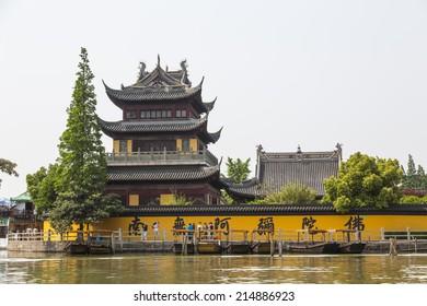 Buddhist temple in the old water town of Zhujiajiao, near Shanghai