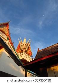 Buddhist temple on blue sky