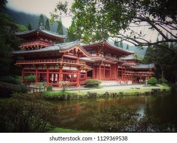 Buddhist temple on the pond