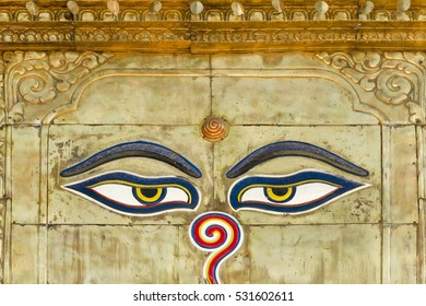 Buddhist temple with painted eyes