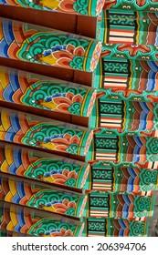 Buddhist temple roof painting. Taken in Baegyangsa, South Korea