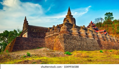 Buddhist temple Shai-thaung in Mrauk U. Myanmar.  High resolution panorama