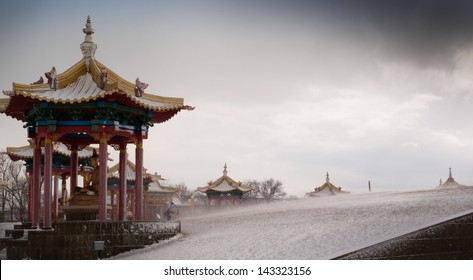 Buddhist temple in snowstorm