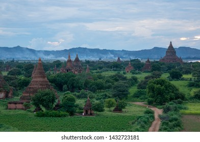 A Buddhist temple at sunrise in Bagan, Myanmar. Bagan is home to the largest and densest concentration of Buddhist temples and pagodas