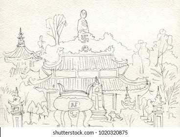 Buddhist temple. Vietnam. Sketch
