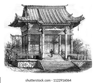 A Buddhist temple, vintage engraved illustration. Magasin Pittoresque 1858.