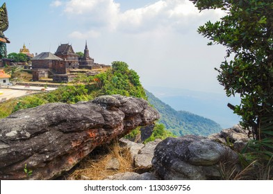 Buddhist temple Wat Sampov Pram and view on bottom of mountain Bokor and coast of gulf of Siam - a coastal line of Kampot. Cambodia, Preah Monivong Bokor National Park